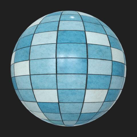 Blue tiles random pbr free texture