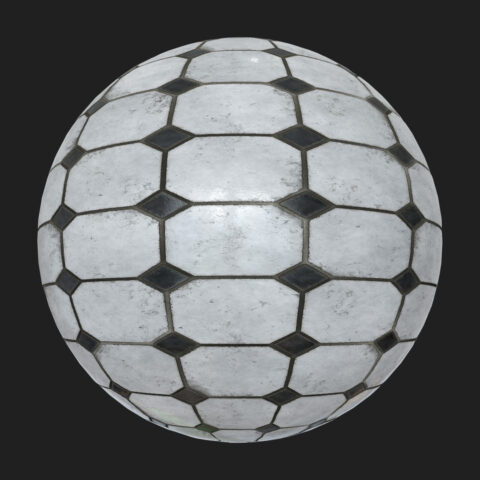 Black and white tiles PBR fre texture
