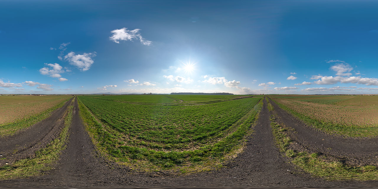 clear sky hdri map at field