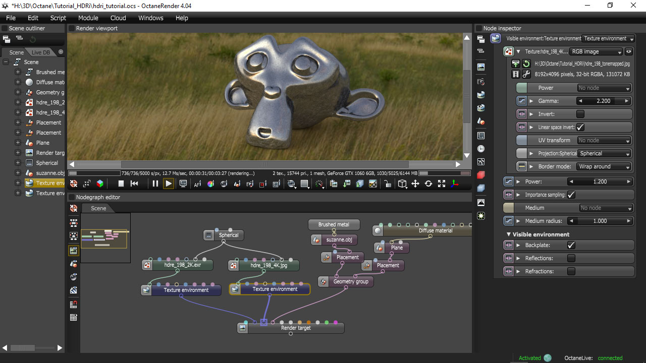 Octane render visible environments