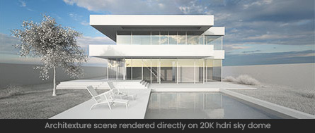 Architecture 3D scene rendered directly on HDRi Map in Maxwell Render